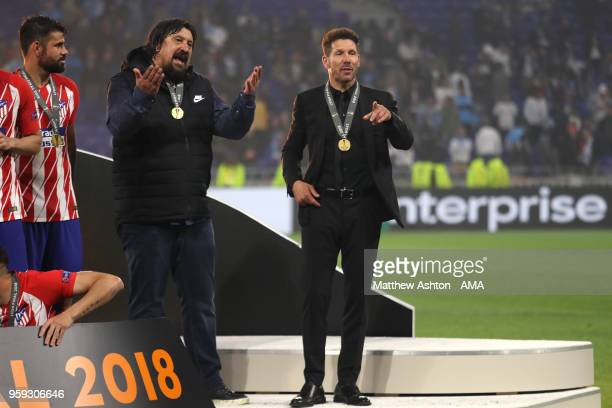 Atletico Madrid Manager / Head Coach Diego Simeone celebrates with Assistant German Burgos at the end of the UEFA Europa League Final between...