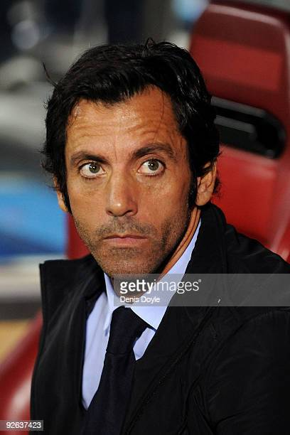 Atletico Madrid Manager Quique Sanchez Flores looks on during Champions League Group D match between Atletico Madrid and Chelsea at the Vicente...