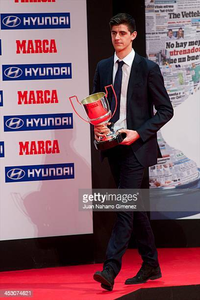 Atletico Madrid player Thibaut Courtois recives the 'Zamora de Primera Award' during the Premios MARCA de Futbol Gala on December 2 2013 in Madrid...
