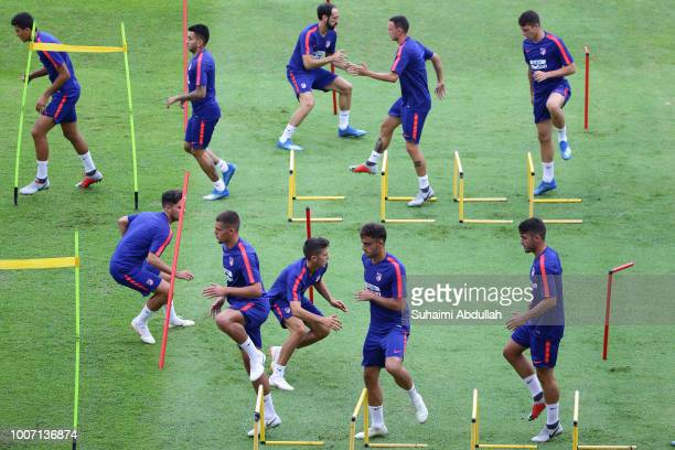Atletico Madrid players attend training ahead of the International Champions Cup match between Paris Saint Germain and Atletico Madrid at Bishan...
