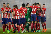lyon france atletico madrid players celebrate