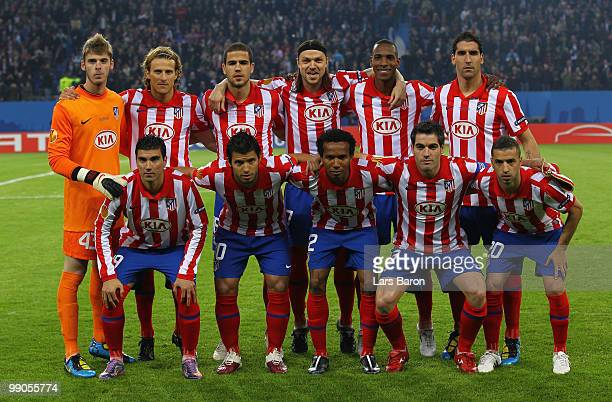 Atletico Madrid players line up prior to the UEFA Europa League final match between Atletico Madrid and Fulham at HSH Nordbank Arena on May 11, 2010...