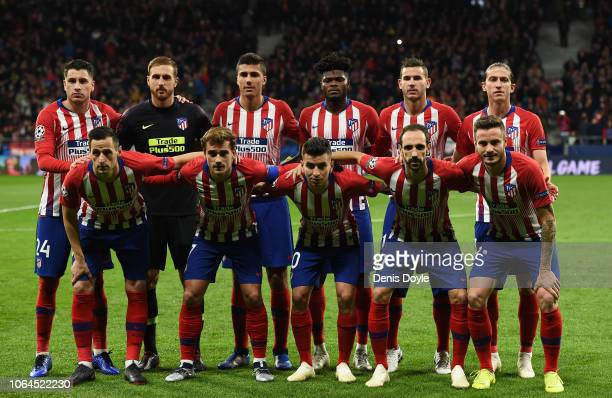Atletico Madrid players lineup before the start of the Group A match of the UEFA Champions League between Club Atletico de Madrid and Borussia...