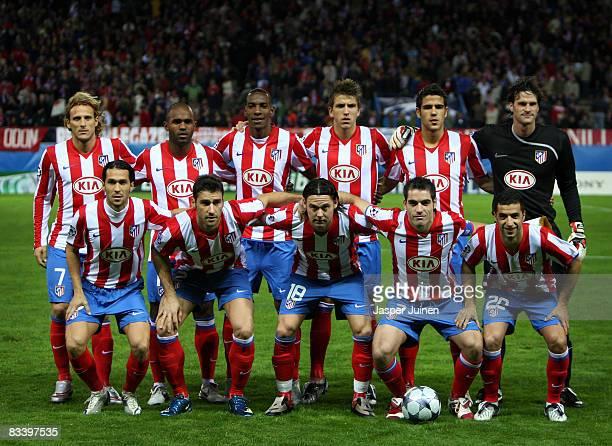 Atletico Madrid players Luis Garcia Giourkas Seitaridis Maniche Antonio Lopez Simao Sabrosa and Diego Forlan Florent Sinama Pongolle Luis Perea...