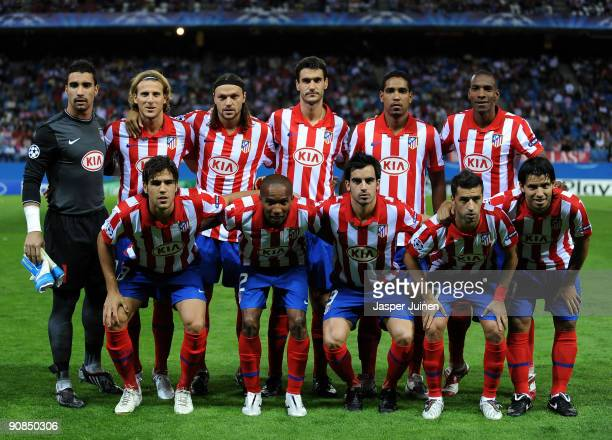 Atletico Madrid players pose for a team picture prior to the Champions League group D match between Atletico Madrid and APOEL FC at the Vicente...