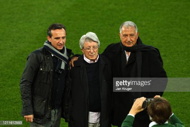 Atletico Madrid president Enrique Cerezo poses for a photograph ahead during an Athletico Madrid Training Session at Anfield on March 10 2020 in...