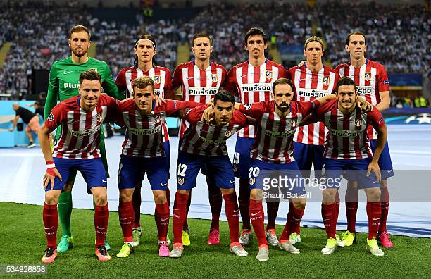 Atletico Madrid team line up prior to the UEFA Champions League Final match between Real Madrid and Club Atletico de Madrid at Stadio Giuseppe Meazza...