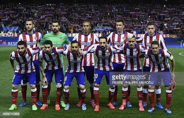 Atletico Madrid team pose before the UEFA Champions League football match Club Atletico de Madrid vs Bayer Leverkusen at the Vicente Calderon stadium...