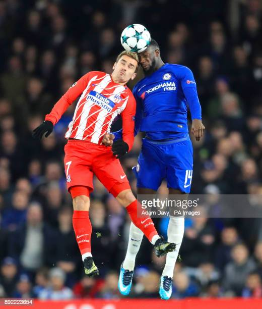 Atletico Madrid's Antoine Griezmann and Chelsea's Tiemoue Bakayoko battle for the ball