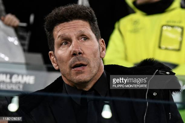 Atletico Madrid's Argentine coach Diego Simeone attends the UEFA Champions League round of 16 secondleg football match Juventus vs Atletico Madrid on...