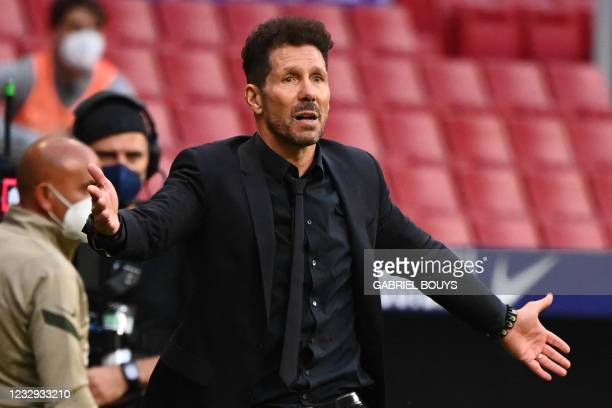 Atletico Madrid's Argentine coach Diego Simeone gestures at the end of the Spanish League football match between Club Atletico de Madrid and CA...