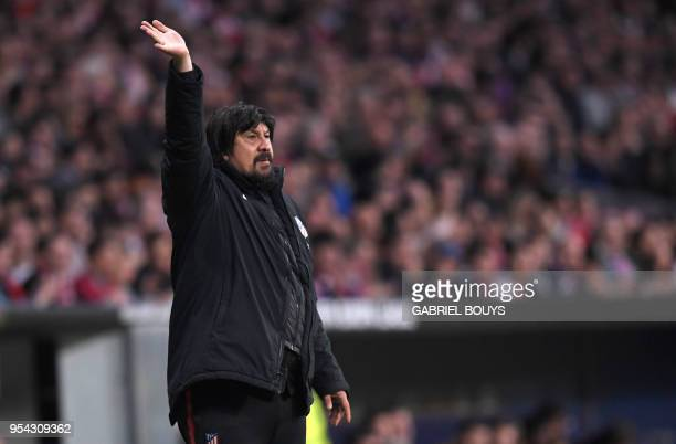 Atletico Madrid's Argentinian assistant coach German Burgos gestures during the UEFA Europa League semifinal second leg football match between Club...