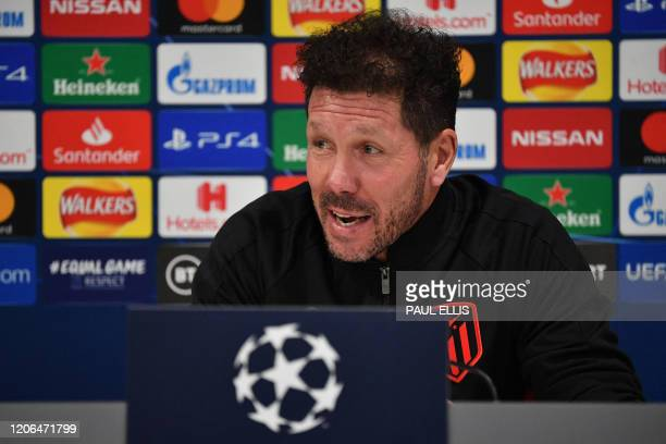 Atletico Madrid's Argentinian coach Diego Simeone attends a press conference at Anfield stadium in Liverpool north west England on March 10 on the...