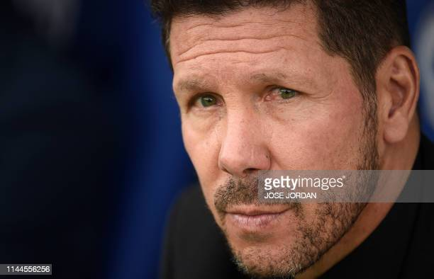 Atletico Madrid's Argentinian coach Diego Simeone attends the Spanish League football match between Levante and Atletico Madrid at the Ciutat de...