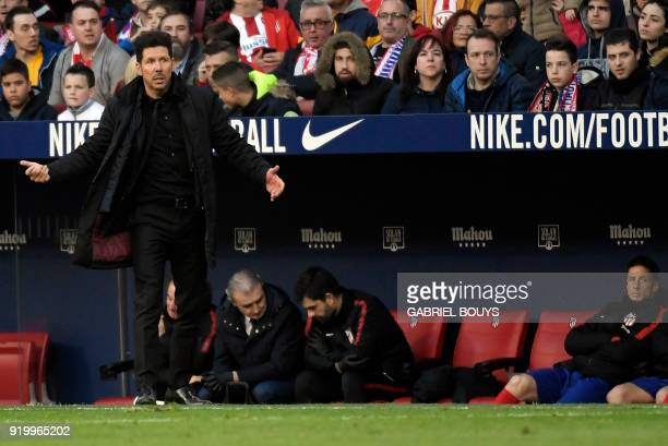 Atletico Madrid's Argentinian coach Diego Simeone gestures on the sideline during the Spanish league football match between Club Atletico de Madrid...