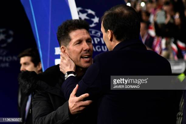 Atletico Madrid's Argentinian coach Diego Simeone greets Juventus' Italian coach Massimiliano Allegri before the UEFA Champions League round of 16...