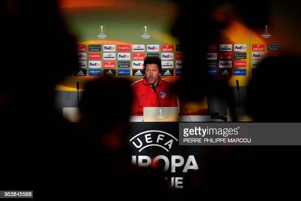 Atletico Madrid's Argentinian coach Diego Simeone holds a press conference at the Wanda Metropolitan Stadium in Madrid on May 2 2018 on the eve of...