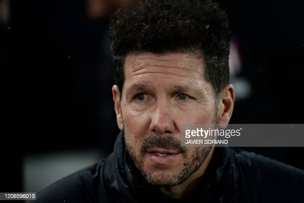 Atletico Madrid's Argentinian coach Diego Simeone looks on during the UEFA Champions league Round of 16 second leg football match between Liverpool...