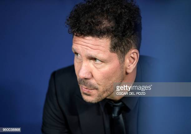 Atletico Madrid's Argentinian coach Diego Simeone looks on during the Spanish league football match between Club Atletico de Madrid and Real Betis at...