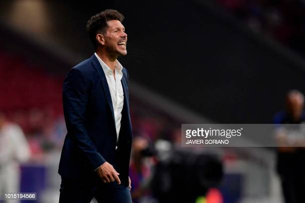 Atletico Madrid's Argentinian coach Diego Simeone reacts during the International Champions Cup football match Club Atletico de Madrid vs Inter Milan...