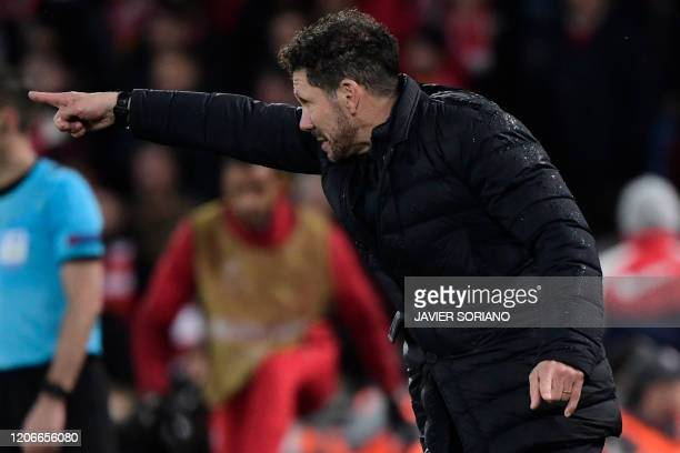 Atletico Madrid's Argentinian coach Diego Simeone reacts during the UEFA Champions league Round of 16 second leg football match between Liverpool and...