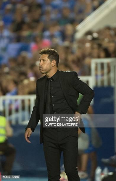 Atletico Madrid's Argentinian coach Diego Simeone shouts during the Spanish league football match Club Deportivo Leganes SAD vs Club Atletico de...