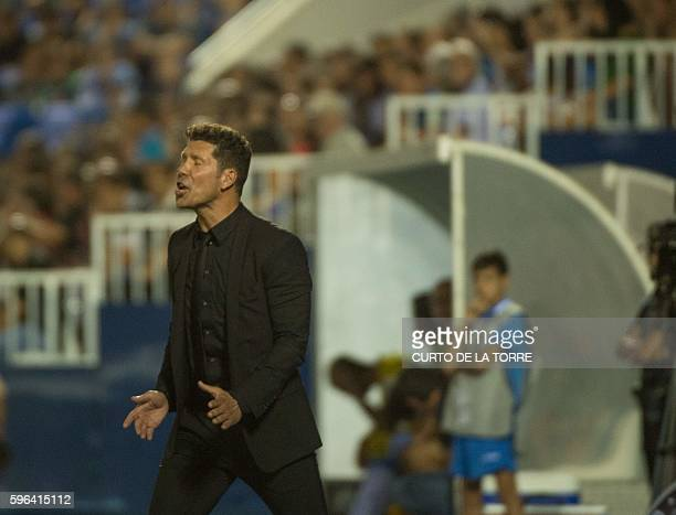 Atletico Madrid's Argentinian coach Diego Simeone shouts instructions to players during the Spanish league football match Club Deportivo Leganes SAD...