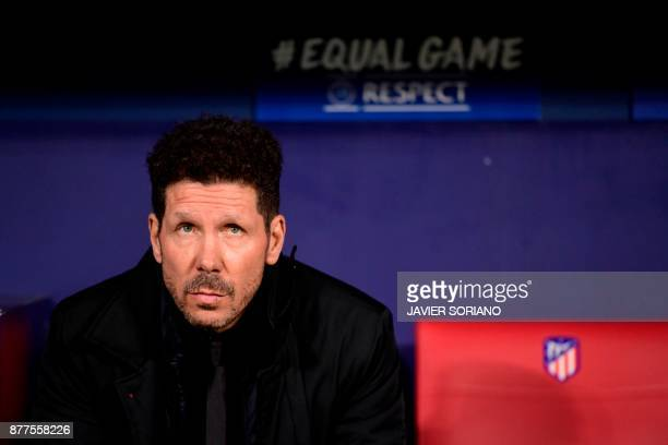 Atletico Madrid's Argentinian coach Diego Simeone waits for the start of the UEFA Champions League group C football match between Atletico Madrid and...