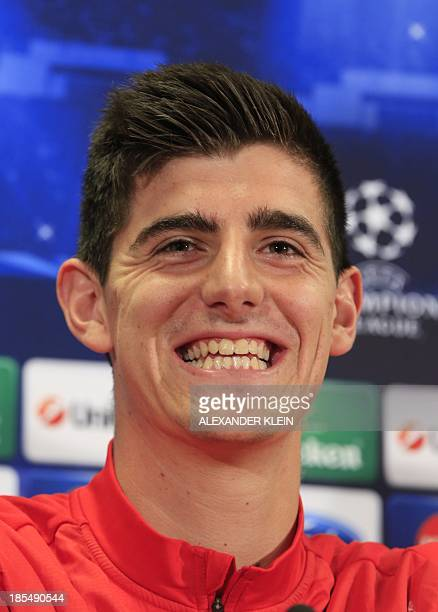 Atletico Madrid's Belgian goalkeeper Thibaut Courtois reacts during a press conference in Vienna on October 21 2013 on the eve of the UEFA Champions...