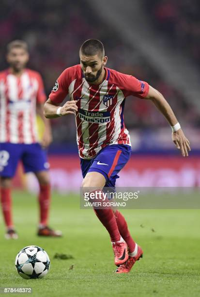 Atletico Madrid's Belgian midfielder Yannick FerreiraCarrasco controls the ball during the UEFA Champions League group C football match between...