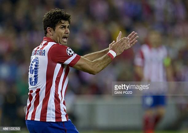 Atletico Madrid's Brazilianborn forward Diego da Silva Costa reacts during the UEFA Champions League semifinal first leg football match Club Atletico...