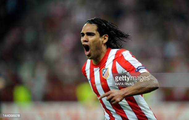 Atletico Madrid's Colombian forward Radamel Falcao celebrates after scoring a goal during the UEFA Europa League final football match between Club...