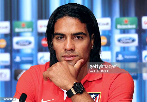 Atletico Madrid's Colombian forward Radamel Falcao gives a press conference on the eve ot the UEFA Super Cup football match Chelsea FC vs Club...