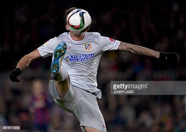 Atletico Madrid's Croatian forward Mario Mandzukic controls the ball during the Spanish Copa del Rey quarter final first leg football match FC...