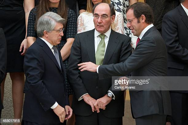 Atletico Madrid's FC President Enrique Cerezo President of Iberdrola energy group Ignacio Sanchez Galan and President of FC Barcelona Sandro Rosell...