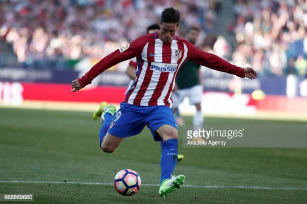 Atletico Madrid's Fernando Torres is in action during the Spanish soccer league La Liga football match Atletico de Madrid vs CA Osasuna at the...