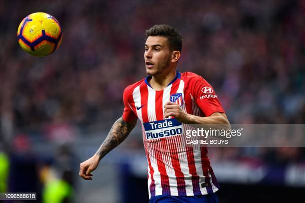 Atletico Madrid's French defender Lucas Hernandez controls the ball during the Spanish league football match between Club Atletico de Madrid and Real...
