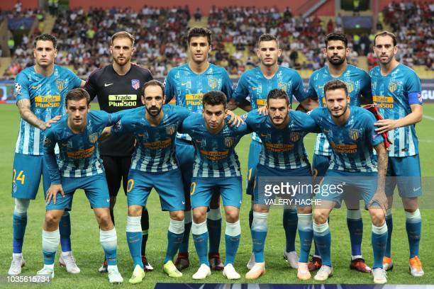 Atletico Madrid's French forward Antoine Griezmann, Atletico Madrid's Spanish defender Juanfran, Atletico Madrid's Argentine forward Angel Correa,...