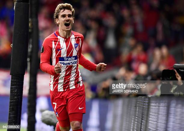 Atletico Madrid's French forward Antoine Griezmann celebrates a goal during the UEFA Europa League quarterfinal first leg football match between...