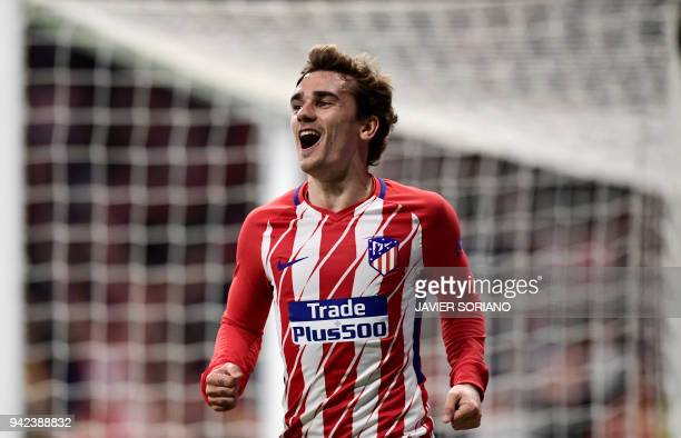 TOPSHOT Atletico Madrid's French forward Antoine Griezmann celebrates a goal during the UEFA Europa League quarterfinal first leg football match...
