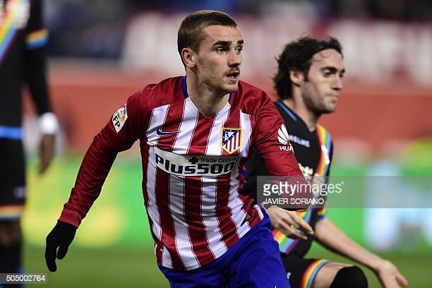 Atletico Madrid's French forward Antoine Griezmann celebrates after scoring a goal during the Spanish Copa del Rey round of 16 second leg football...