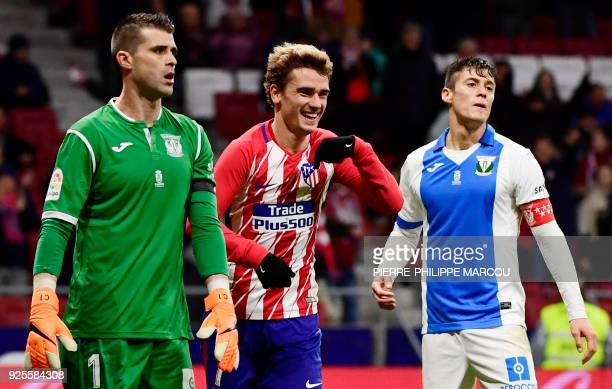 Atletico Madrid's French forward Antoine Griezmann celebrates his fourth goal during the Spanish league football match Club Atletico de Madrid...