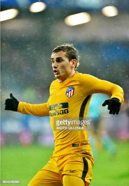 Atletico Madrid's French forward Antoine Griezmann gestures during the Spanish league football match between SD Eibar and Club Atletico de Madrid at...
