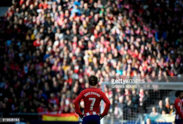 TOPSHOT Atletico Madrid's French forward Antoine Griezmann stands on the field during the Spanish league football match between Club Atletico de...