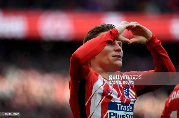 Atletico Madrid's French forward Kevin Gameiro celebrates a goal during the Spanish league football match between Club Atletico de Madrid vs Athletic...