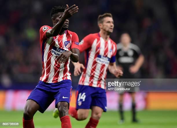 Atletico Madrid's Ghanaian midfielder Thomas celebrates a goal during the UEFA Champions League football match Club Atletico de Madrid vs Qarabag FK...