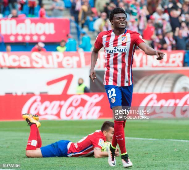 Atletico Madrid's Ghanaian midfielder Thomas Partey celebrates after scoring during the Spanish league football match Club Atletico de Madrid vs Real...