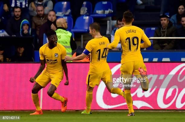 Atletico Madrid's Ghanaian midfielder Thomas Partey celebrates after scoring a goal during the Spanish league football match Deportivo Coruna vs...