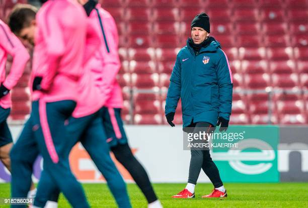 Atletico Madrid's head coach Diego Simeone leads a training session on February 14 2018 in Copenhagen on the eve of their UEFA Europa League round of...