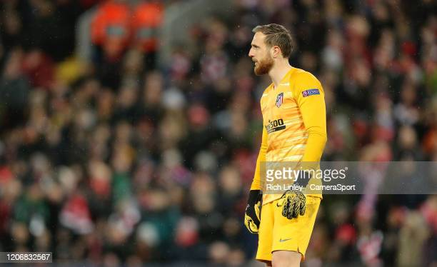 Atletico Madrid's Jan Oblak during the UEFA Champions League round of 16 second leg match between Liverpool FC and Atletico Madrid at Anfield on...